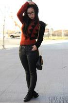leatherette Gap jeans - boots Aldo boots - fuzzy vintage sweater