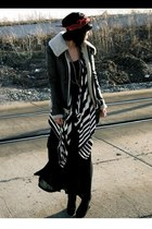 Saks Fifth jacket - meekers Jeffrey Campbell boots - striped Forever 21 cardigan