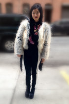 ivory mixed fur vintage coat - black colorblock PROENZA SCHOULER pants