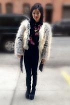 ivory mixed fur vintage coat - black colorblock PROENZA SCHOULER pants