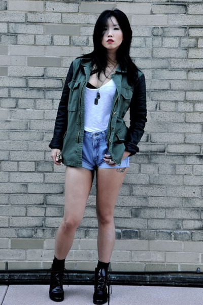 olive green Urban Outfitters jacket - crimson Kimchi Blue boots