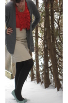 red Odille blouse - gray Express cardigan - black HUE tights - blue Kimchi&Blue