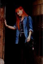 black BDG jeans - blue Levis shirt