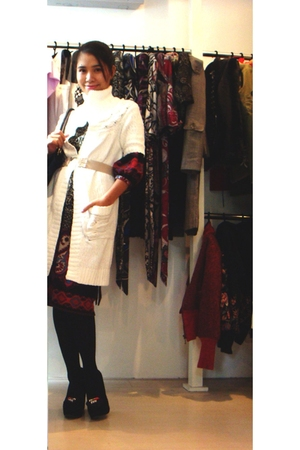white vintage cardigan - black Thuong-H dress - beige greenlam belt - D&G shoes