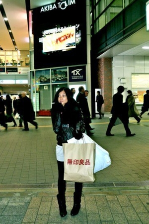 cynx tokyo jacket - Uniqlo cardigan - Uniqlo tights - H&M boots - H&M scarf