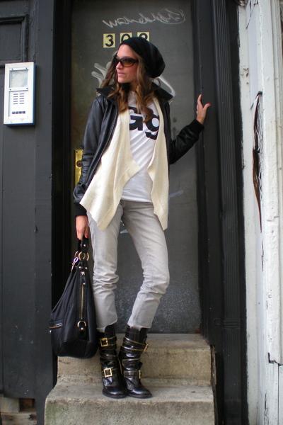 coal hat - anne taylor loft sweater - American Apparel t-shirt - Zara jacket - T