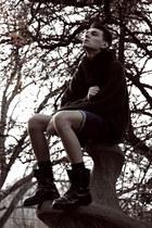 black Zara boots - blue denim H&M shorts - dark brown knitted H&M cardigan