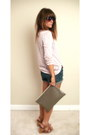 Peach-forever-21-shirt-tan-clutch-taupe-american-apparel-bag-navy-denim-shor