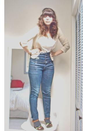 beige vintage blazer - white top - blue Miss Sixty jeans - brown Target shoes -