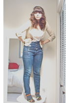 beige vintage blazer - white top - blue Miss Sixty jeans - brown Target shoes -