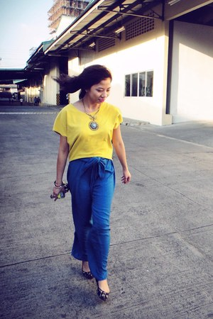 yellow crop top random top - blue palazzo thrifted pants