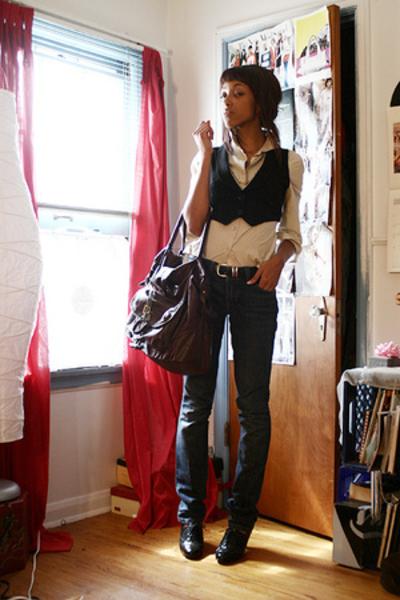 blouse - vest - Gap jeans - Dolce and Gabbana purse
