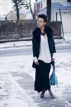 black dress - pink Charlotte Russe top - black coat - beige Forever 21 shoes - b