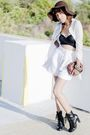 White-bill-blass-shorts-black-scarf-white-sweater-black-boots-brown-char