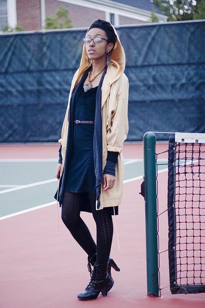 black dress - gray cardigan - beige coat - black boots