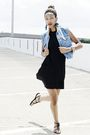 Black-dress-blue-vest-black-shoes