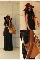 black cut out maxi dress - brick red floppy American Apparel hat
