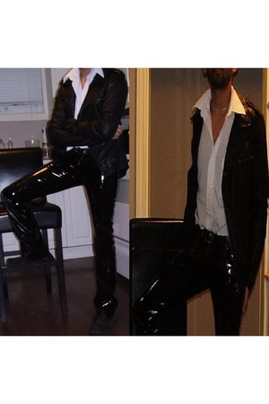 black leather shoes - black leather jacket - white full sleeve shirt - black pvc