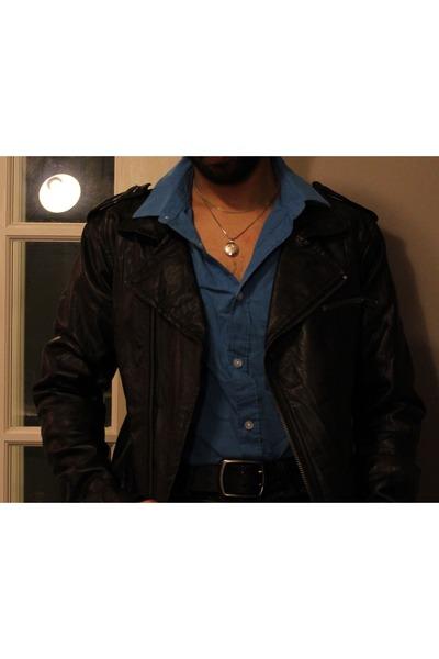 black leather jacket jacket - turquoise blue slim fit shirt - black pants - blac