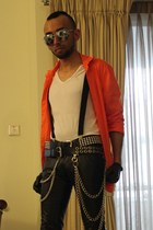 white skin tight top - carrot orange slim fit shirt - silver sunglasses