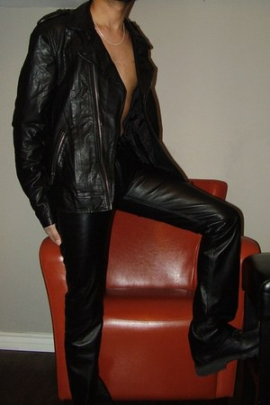 black leather shoes - black leather jacket - black pants - silver chain necklace