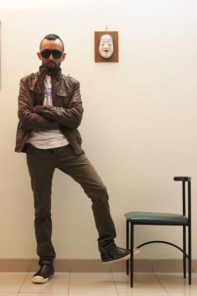 tawny leather jacket - olive green shoes - black sunglasses