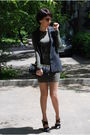 Green-t-by-alexander-wang-dress-gray-elisabeth-and-james-jacket-black-tahari