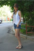 no brand shorts - white Alexander Wang top - silver calvin klein shoes
