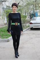 black t by alexander wang dress - green roberto cavalli belt - black Rodo purse