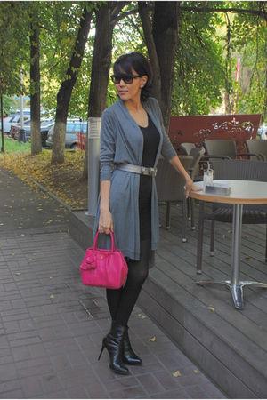 silver DKNY cardigan - pink Prada bag