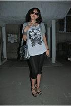 white Zara top - silver united colors of benetton cardigan - black Jimmy Choo sh