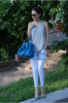 white J Brand jeans - silver Alexander Wang top - silver camilla scovgaard shoes