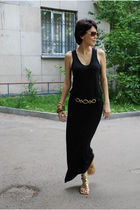 black t by alexander wang dress - gold Juicy Couture shoes - black Rampage belt