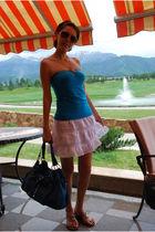 white free people skirt - silver calvin klein shoes - blue Francesco Biasia purs