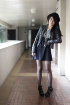 black from singapore dress - black bowler Forever 21 hat - dark gray leather Zar