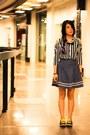 Black-keds-shoes-yellow-socks-black-belle-york-top-navy-denim-skirt-skirt-