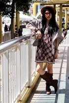 dark brown From HK boots - deep purple floral no brand dress - brown boater YRYS