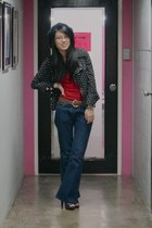 navy jacket - navy Forever 21 hat - ruby red top - navy jeans - navy Parisian sh