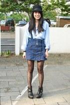 black H&M hat - sky blue top - blue jumper - black tights - black Parisian wedge