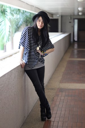 black Charles &amp; Keith boots - black bowler Forever 21 hat - navy striped From HK