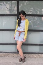 light yellow cardigan - sky blue top - sky blue shorts - tan socks - dark brown