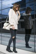 Chicwish blazer - Zara boots - Topshop jeans - Mercules bag