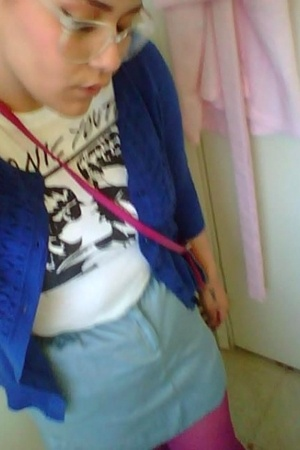 white sonic youth Urban Outfitters t-shirt - blue cardigan Target sweater
