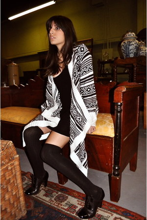 black Urban Outfitters dress - white Fluent Life cardigan - black Gianna Bini he