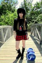 red plaid some velvet vintage skirt - black panther OASAP shirt