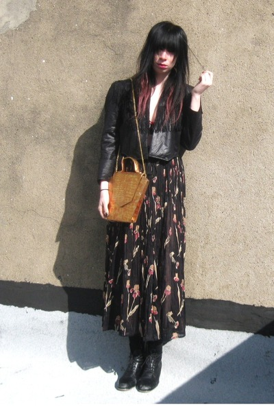 black fringe vintage jacket - black sheer vintage skirt