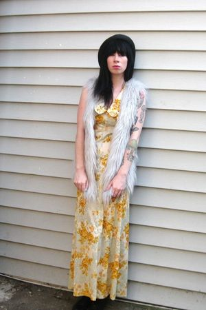 gray faux fur vintage vest - gold vintage dress