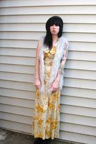 gray faux fur vintage vest - gold vintage dress