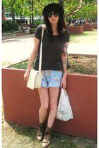blue vintage shorts - gray H&M shirt