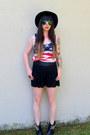 Black-studded-tba-boots-red-flag-diva-shirt